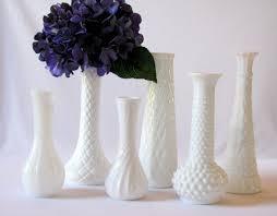 Milk Vases For Centerpieces by 6 Milk Glass Vases Wedding Centerpiece Bridal Shower Decor