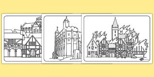 great sheets great fire of london medieval houses colouring sheets fire