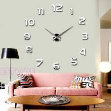 Home Decor Wall Clock New Fashion Large Number Wall Clock Diy 3d Mirror Sticker Home