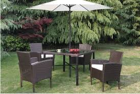 patio table chairs umbrella set p50223 outdoor patio 6pc table set in brown by poundex
