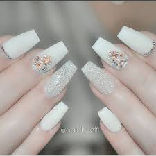 white matte glitter swarovski rhinestone coffin nails