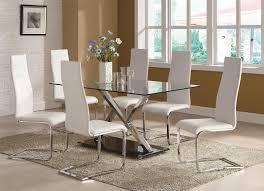 White Dining Room Set Coaster Modern Dining 7 Piece White Table U0026 White Upholstered