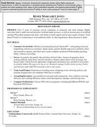 food service resumes sle resume for a food service position dummies