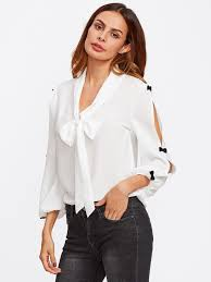 white tie neck blouse bow embellished split sleeve tie neck blouse emmacloth fast
