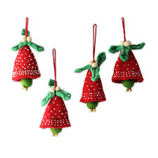 handmade red and green wool christmas ornaments set of 4 red