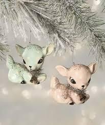 reindeer ornaments kitschy christmas reindeer ornaments retro pink blue deer fawn
