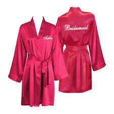 bridesmaid satin robes personalized knee length satin bridesmaid robes personalized