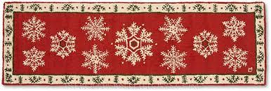 handmade winter snowflake hooked runner rug