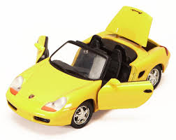 porsche toy car porsche boxster convertible yellow showcasts 73226 1 24 scale