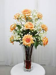 silk rose roses glass vase faux acrylic illusion water real