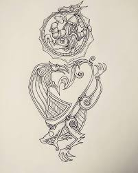 a half sleeve tattoo design with a norse mythology theme including
