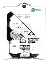 2 Bedroom Condo Floor Plans Seychelles Daytona Beach Floor Plans