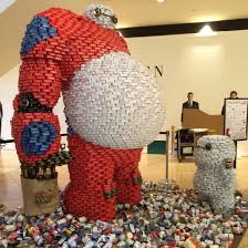 canstruction 2015 baymax and baby baymax made out of cans by watg