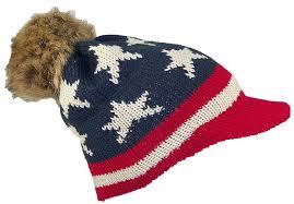 American Flag Beanie David U0026 Young American Flag Visor Beanie W Pom Pom