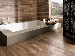 home design bathroom with wood tile floor elements within look