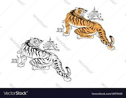tiger thai tattoo design royalty free vector image