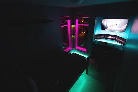 purple led lights for computers 3 triple monitor tv gaming computer rgb led setup room battlestation