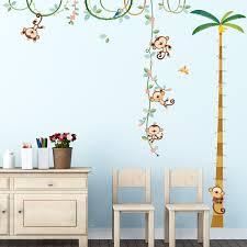 monkey height chart wall stickers