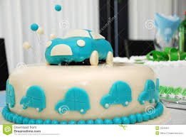 baby boy blue birthday cake with car stock image image 25945621
