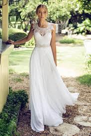 2017 vintage lace chiffon wedding dresses cheap long bridal