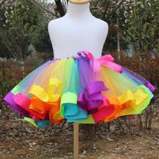 kids girls rainbow tutu skirt tulle fluffy princess dance dress