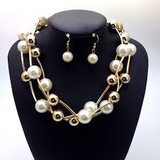 chunky pearl fashion necklace images Fashion jewelry sets white pearl necklace earrings women gold jpg