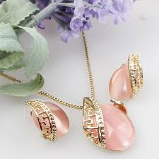 necklace stone setting images Fancyde girl design romantic oval opal stone pendant necklace jpg