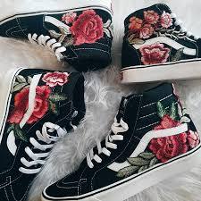 unisex custom rose floral embroidered patch vans sk8 hi zoom