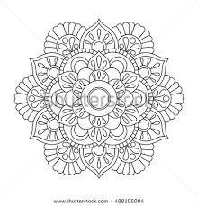 outline mandala coloring book antistress therapy stock vector