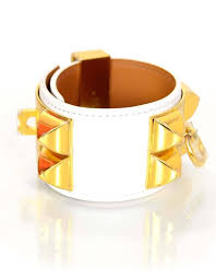 hermes bracelet white images Hermes like new white and gold collier de chien cdc cuff bracelet JPG