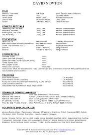 Actor Resume Special Skills David Newton Actor U2014 David Newton