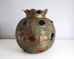 moroccan brass lamp shade jeweled brass globe bohemian home