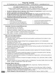 Principal Resume Template Resume Examples Resume For Graduate Template Admissions