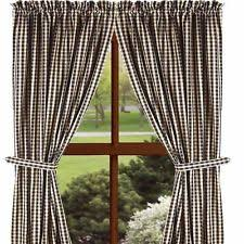 Lined Cotton Curtains Checked Country Lined Curtains Ebay