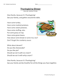 thanksgiving dinner reading comprehension worksheet