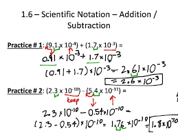 showme addition and subtraction with scientific notation