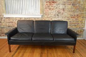 seat sofa hans for c s møbler black leather three seat sofa