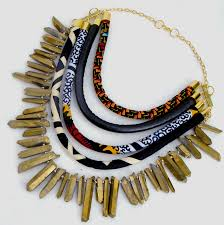 leather gold necklace images Ankara leather gold quartz statement necklace cloth cord jpg