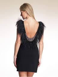 sheath short length black satin scoop beaded and feathered