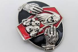 silver devil hands coffin skull skeleton belt buckle halloween