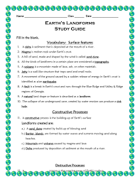 landforms earth science study guide answer key