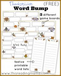 free thanksgiving word bump works with any spelling list