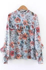 blouse ruffles multi floral print ruffles decor sleeve chiffon blouse