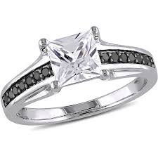sterling silver engagement rings walmart 1 1 3 carat t g w created white sapphire and 1 7 carat t w black