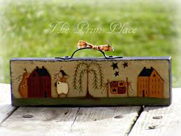Sheep Home Decor Primitive Painted Folk Table Sitter Block Primitive