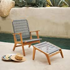 catskill wood wicker chair teak gray west elm