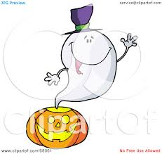 royalty free rf clipart illustration of a ghost waving and