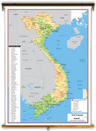 Physical Map Of Asia by Vietnam Physical Educational Wall Map From Academia Maps