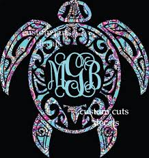 monogram decals sea turtle decal turtle monogram decal lilly inspired