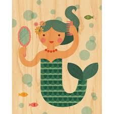 mermaid wall décor mermaid print on wood petit collage
